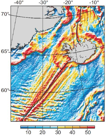 Satellite-derived free-air gravity anomalies (mGal) in the region surrounding Iceland