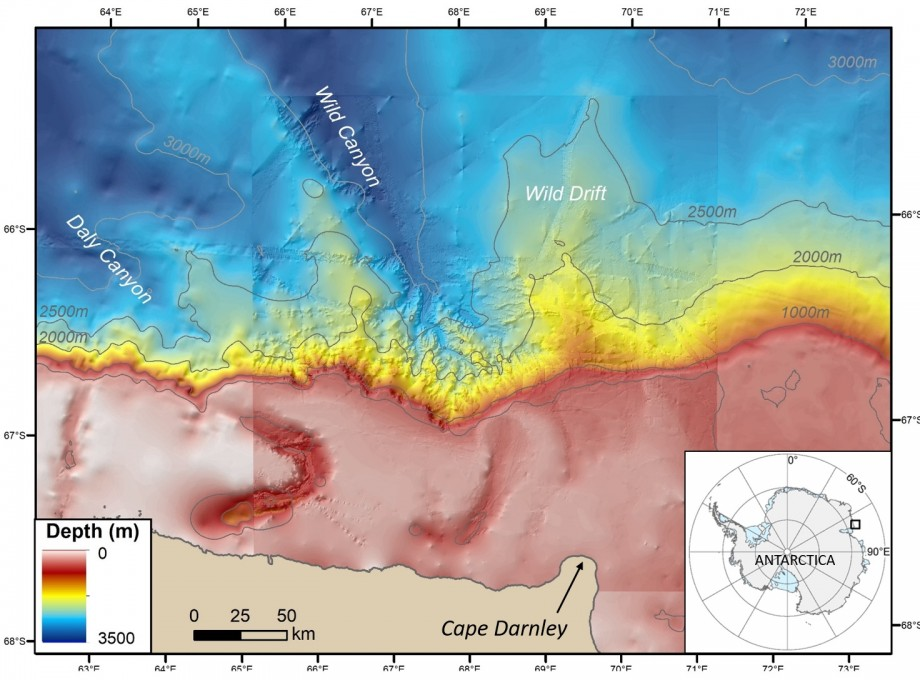 Antarctic Coast Bathymetry in the region of Cape Darnley