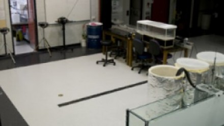 An experiment involving ocean straights, underway in a bay of the GFD Lab.