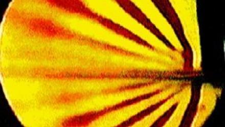 Schlieren image of internal gravity waves radiating froma source. Photo: B. Ruddick.
