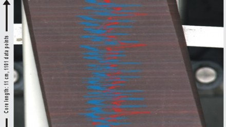 Example of a 0.1 mm step-size XRF scan of a banded iron formation (BIF) clearly showing the relationship between the finely laminated lithology and the chemistry as determined by the Avaatech XRF core scanner. [Data: Dr Jan Smit, Free University, Amsterda